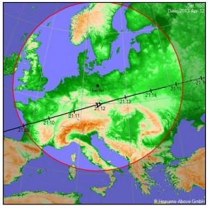 Groundtrack und Sichtbarkeitstabelle ISS-Überflug von Heavens Above