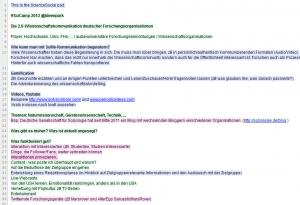 "<a href=""http://pad.sciencesocial.de/"">Pad</a> zum <a href=""http://social.helmholtz.de/blog/das-scicamp-die-relativitaetstheorie-in-140-zeichen/"">2. SciCamp</a>"